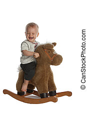 Cute Baby Boy Laughing on Rocking Horse - Little Smiling...