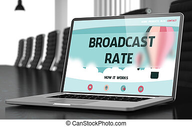 Broadcast Rate on Laptop in Conference Room. 3D. - Broadcast...
