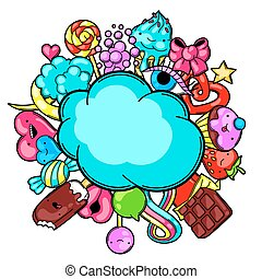 Kawaii card with sweets and candies. Crazy sweet-stuff in...