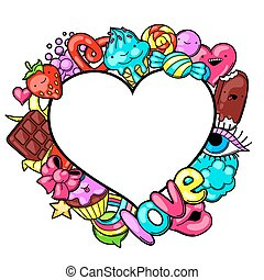 Kawaii heart frame with sweets and candies. Crazy...