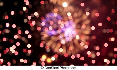 Defocused firework pyrotechnic - Colorful defocused firework...