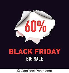 Torn hole in the sheet of red paper. Black Friday. Big sale background. Vector illustration.