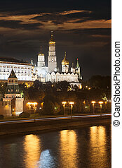 The Ivan the Great Bell Tower - Night view of Moscow Kremlin...