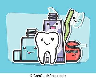 Best friends of healthy teeth. Dental and oral hygiene...