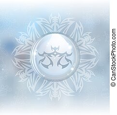 Vector snow globe with zodiac sign Libra