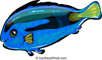 Vector neon blue fish in the sea. Funny illustration...