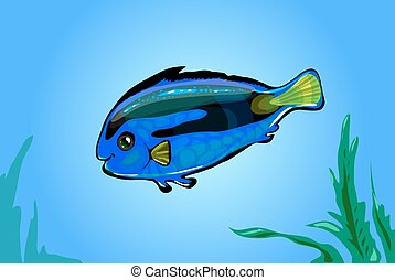 Vector neon blue fish in the sea. Glowing cartoon funny fish...