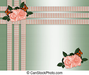 Peach roses and ribbons border - Image and illustration...