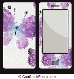Design for a mobile phone with decorative butterfly
