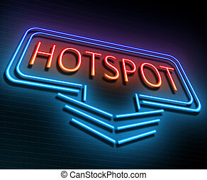 Hotspot sign concept. - Illustration depicting an...