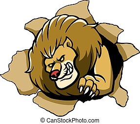 Lion Tear The Paper - vector illustration of lion rip the...