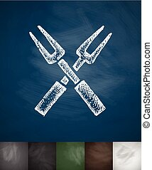 forks icon. Hand drawn vector illustration. Chalkboard...