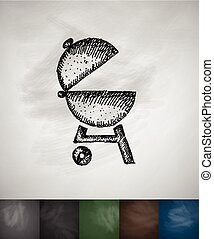 barbecues icon. Hand drawn vector illustration. Chalkboard...