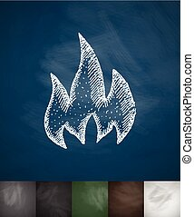 fire icon. Hand drawn vector illustration. Chalkboard Design