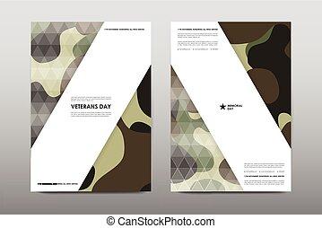 Set of Veterans Day brochure, poster templates in khaki...