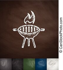 barbecue icon. Hand drawn vector illustration. Chalkboard...