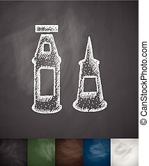 mayonnaise and ketchup icon. Hand drawn vector illustration....