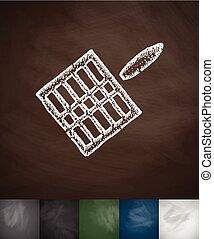 gridiron icon. Hand drawn vector illustration. Chalkboard...