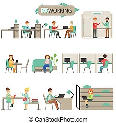 Coworking In Modern Design Office Infographic Illustration...