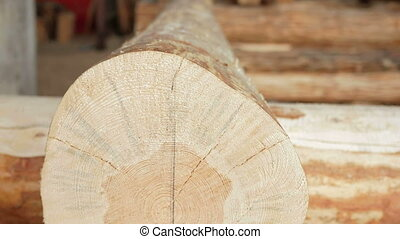 Background: wooden logs in the future house. Close-up and...