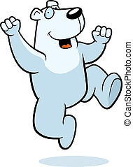 Polar Bear Jumping - A happy cartoon polar bear jumping and...