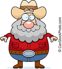 Prospector Smiling - A happy cartoon prospector standing and...