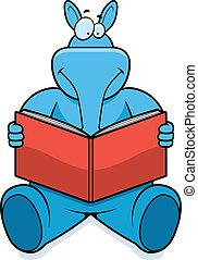 Aardvark Reading - A cartoon aardvark reading a book and...