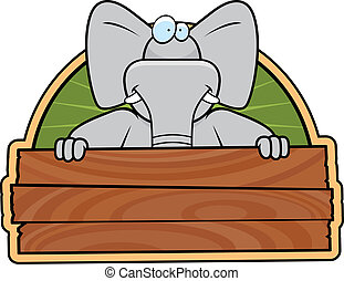 Elephant Sign - A happy cartoon elephant with a wooden sign
