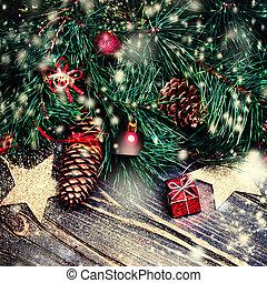 Ornamento, Natale, fondo, rosso