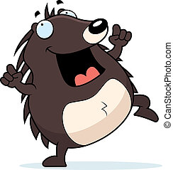 Hedgehog Dancing - A happy cartoon hedgehog dancing and...