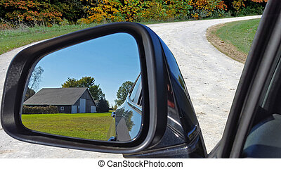barn in rearview mirror - old country barn in rearview...
