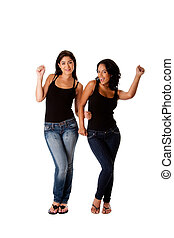 Dancing groovy teenager girls - Beautiful fun happy smiling...