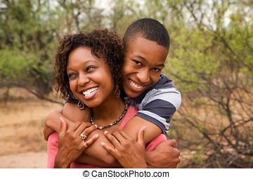 feliz, African - american, familia, exterior