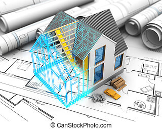 house model - 3d illustration of house model with frame and...