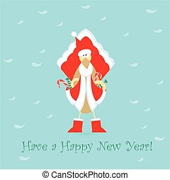 Cute Santa Cockerel Claus - Cute Cockerel in Santa Claus...