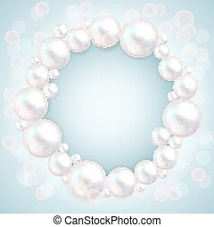 Pearl beads wedding invitation frame on blue background. Jewellery bracelet, necklace . Wedding invitation white pearls vector background.