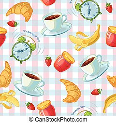 Breakfast Food Pattern - Flat isolated pattern with coffee...