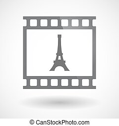 Isolated 35mm film frame slide photogram with   the Eiffel tower
