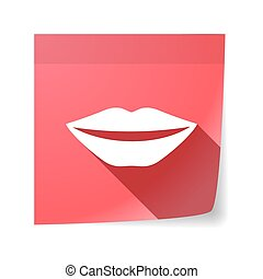 Isolated sticky note with  a female mouth smiling