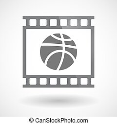 Isolated 35mm film frame slide photogram with  a basketball ball