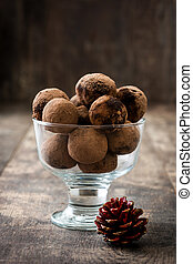 Homemade chocolate truffles in a cup