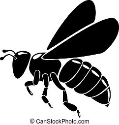 pretas, abelha, silueta