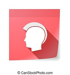 Isolated sticky note with  a male punk head silhouette