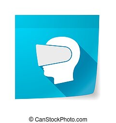 Isolated sticky note with  a male head wearing a virtual reality headset