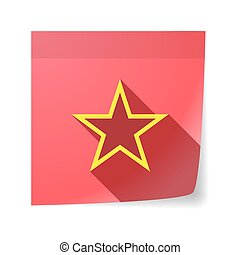 Isolated sticky note with  the red star of communism icon