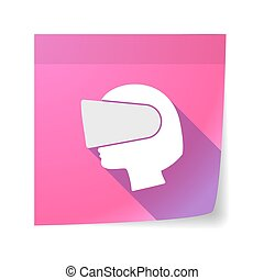 Isolated sticky note with  a female head wearing a virtual reality headset