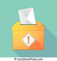 Long shadow ballot box with   a warning road sign