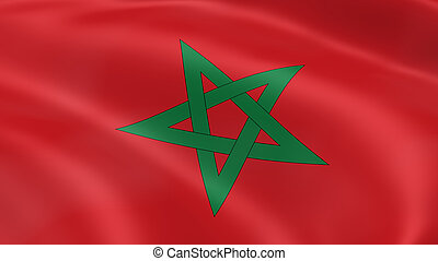 Moroccan flag in the wind. Part of a series.