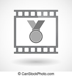 Isolated 35mm film frame slide photogram with  a medal