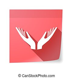 Isolated sticky note with  two hands offering